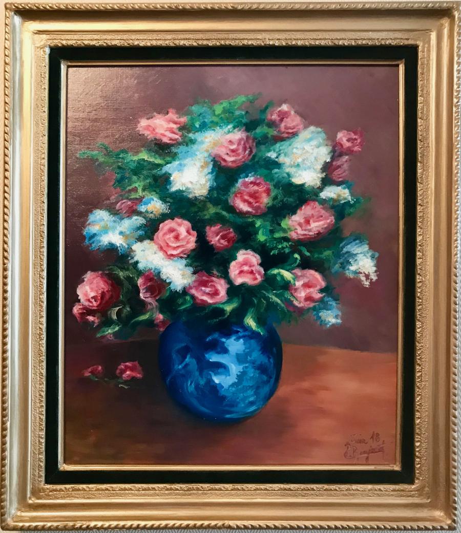 Fleurs au vase bleu - Huile sur toile 10F - Juin 2018