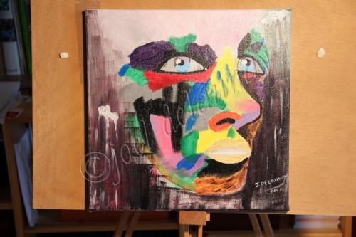 Portrait couleurs pluriel acrylique sur toile 30x30 S.C..jpg