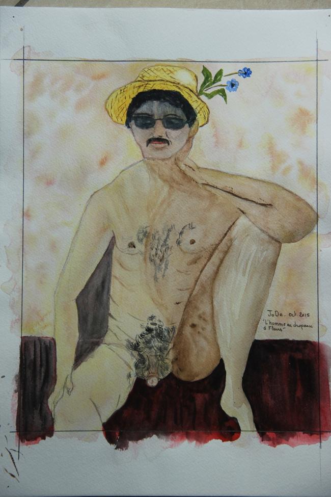 L'homme au chapeu à fleurs..JPG
