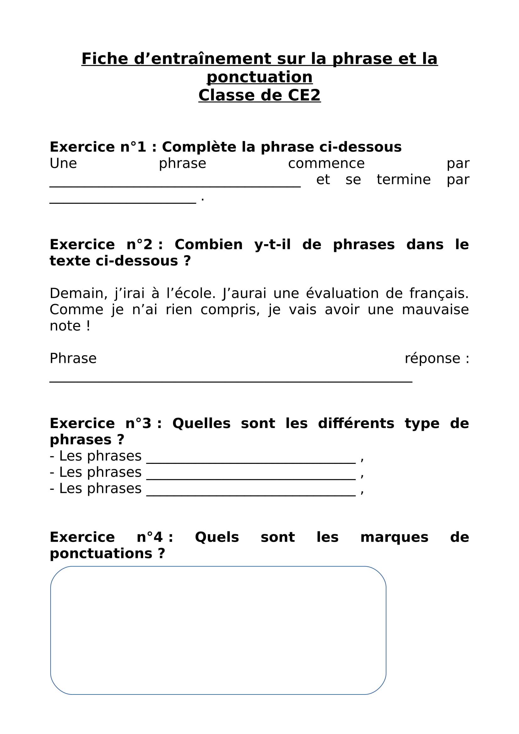 Revision Scolaire Fiche D Entrainement Sur La Phrase Et La Ponctuation Niveau Ce2 Article
