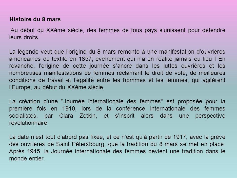 Histoire+du 8 mars Au début du XXème siècle des femmes de tous pays s'unissent pour défendre leurs droits..jpg