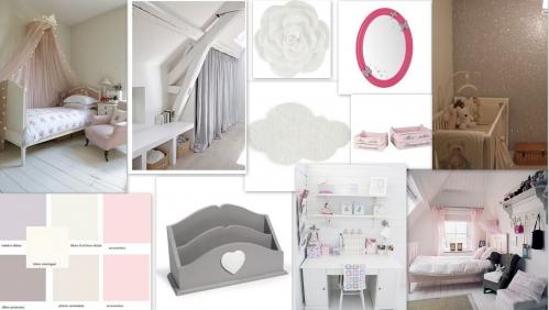 planche inspiration chambre fille gris rose et blanc