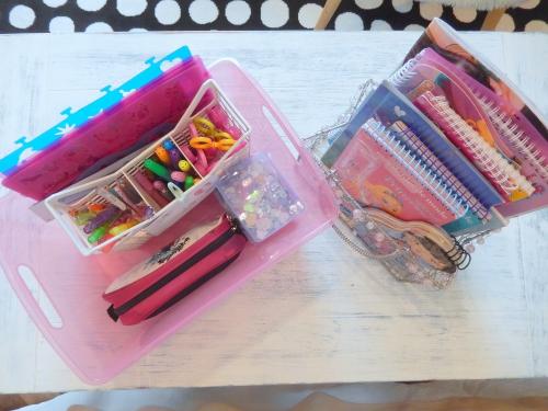 Organisation enfants:de la récup' pour ranger le matériel de dessin.
