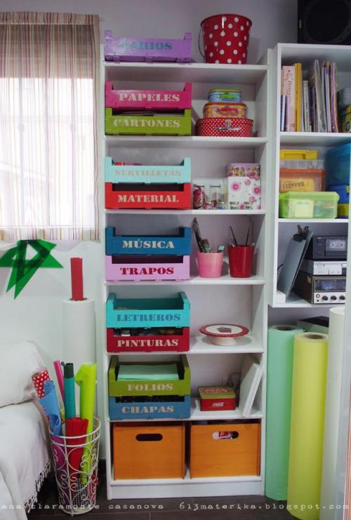 Des cagettes dans toute la maison mon carnet d co diy - Ideas para organizar papeles en casa ...