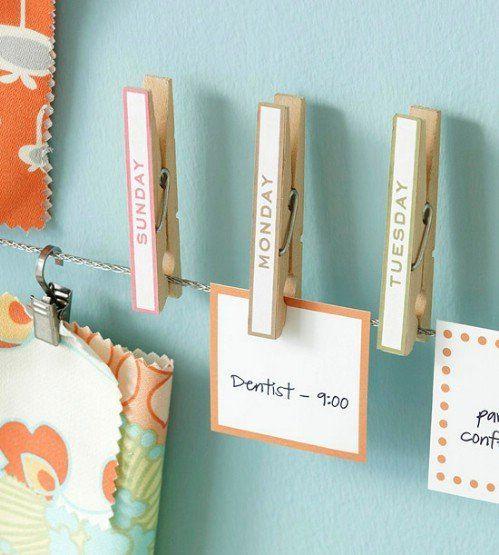 DIY décorer et organiser avec des pinces à linge