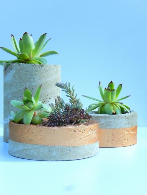DIY des pots déco en béton et cuivre 4