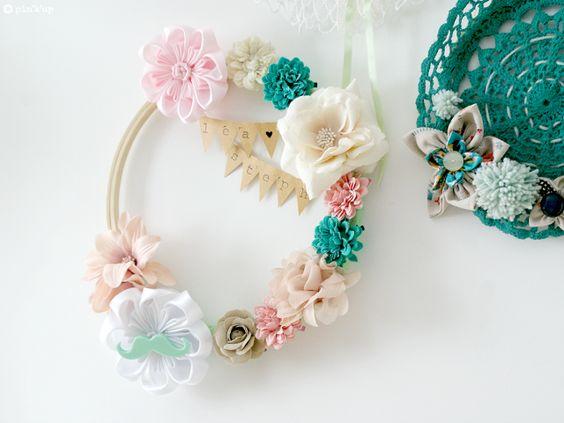 couronne de fleurs pink'up