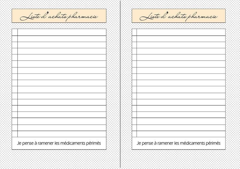liste courses pharmacie free printable