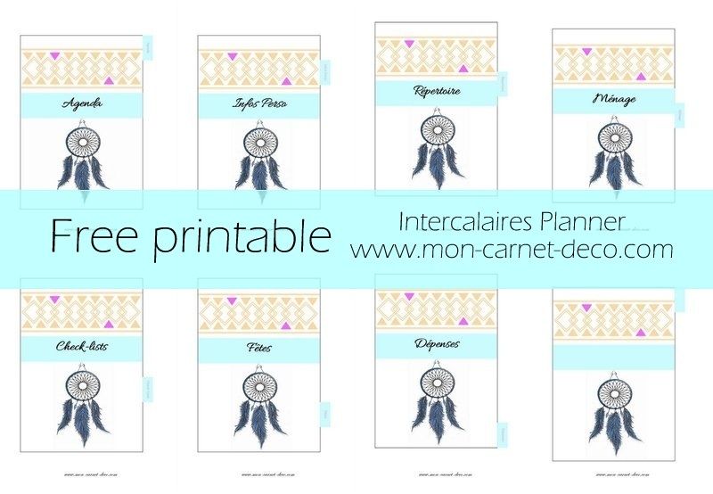 intercalaires pour planner free printable