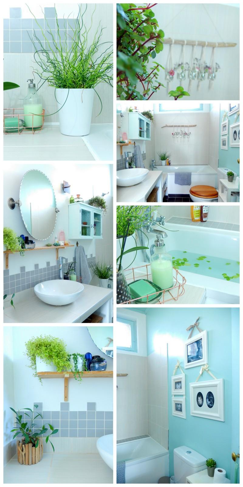 decorer une salle de bain retro en vert mint et blanc