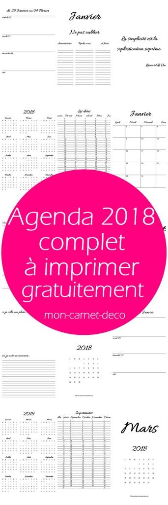 agenda 2018 a imprimer gratuitement 2