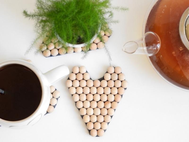 diy sous tasses perles en bois facile 4