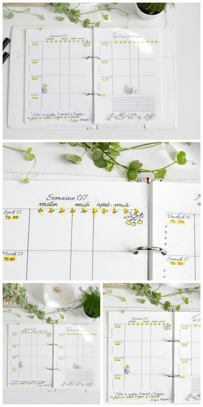 organisation bullet journal page hebdomadaire par heures 1