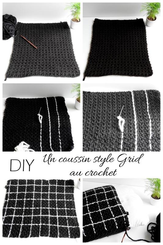 diy un coussin au crochet au motif grid 1
