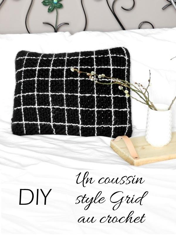 diy un coussin au crochet au motif grid 3