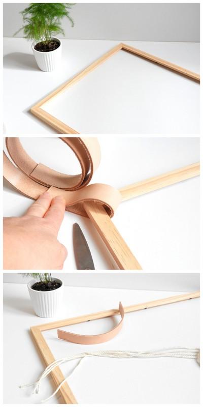 diy deco mural macrame design cadre en bois et cuir 1