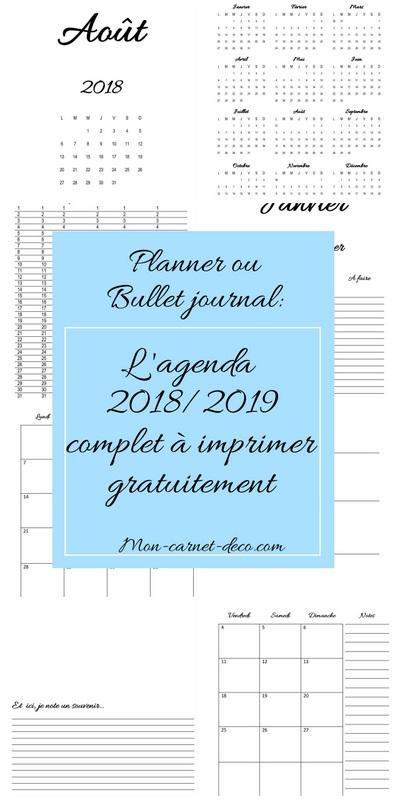 agenda 2018 2019 a imprimer gratuitement bullet journal ou planner 2