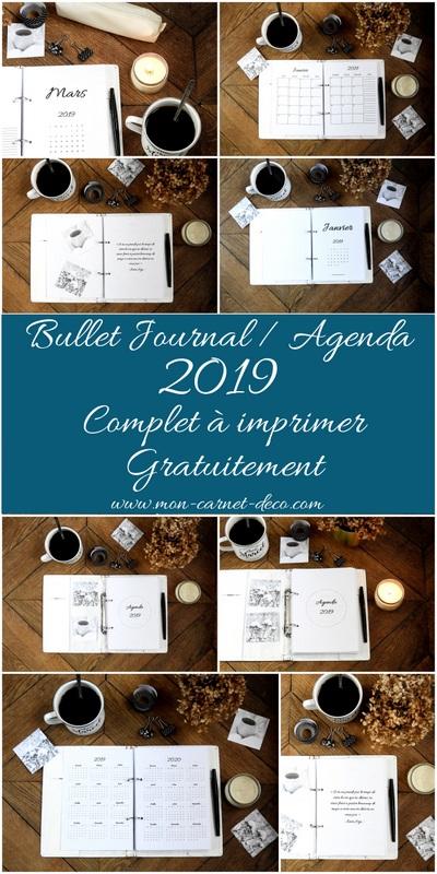 Bullet journal et agenda 2019 complet à imprimer gratuitement 1