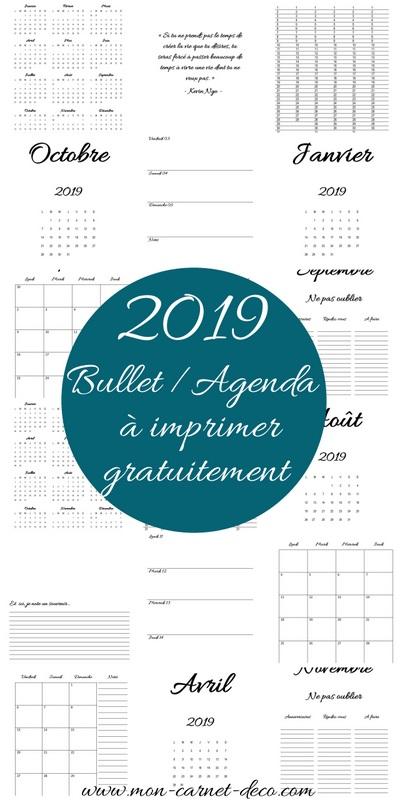 Bullet journal et agenda 2019 complet à imprimer gratuitement 4