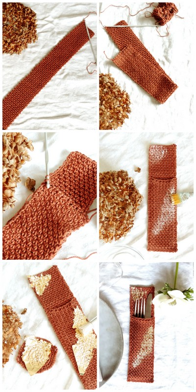 diy range couvert et rond de serviette crochet et or.jpg