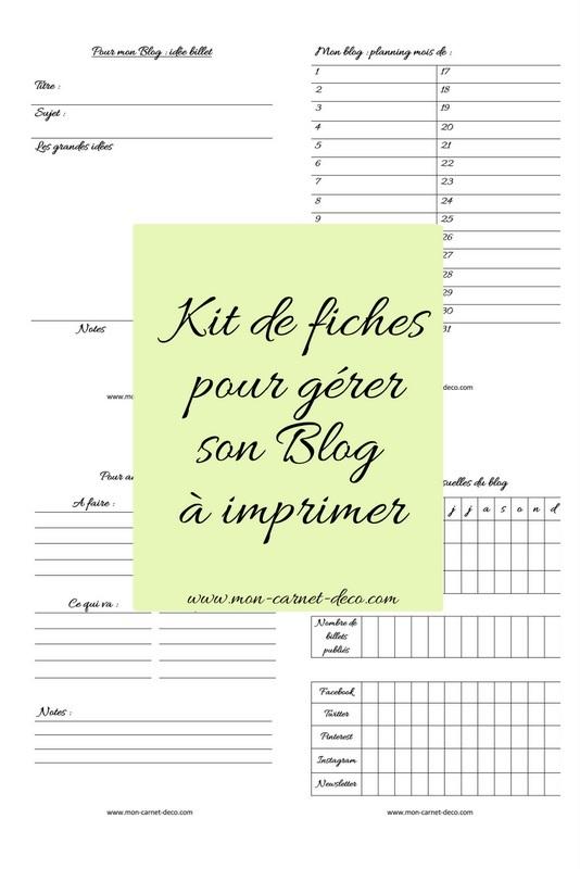 Fiches complémentaires pour Planner ou bullet journal à imprimer gratuitement 4