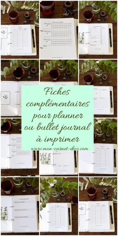 Fiches complémentaires pour Planner ou bullet journal à imprimer gratuitement 7