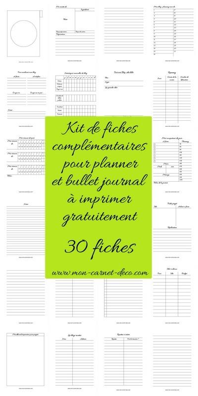 Fiches complémentaires pour Planner ou bullet journal à imprimer gratuitement 8