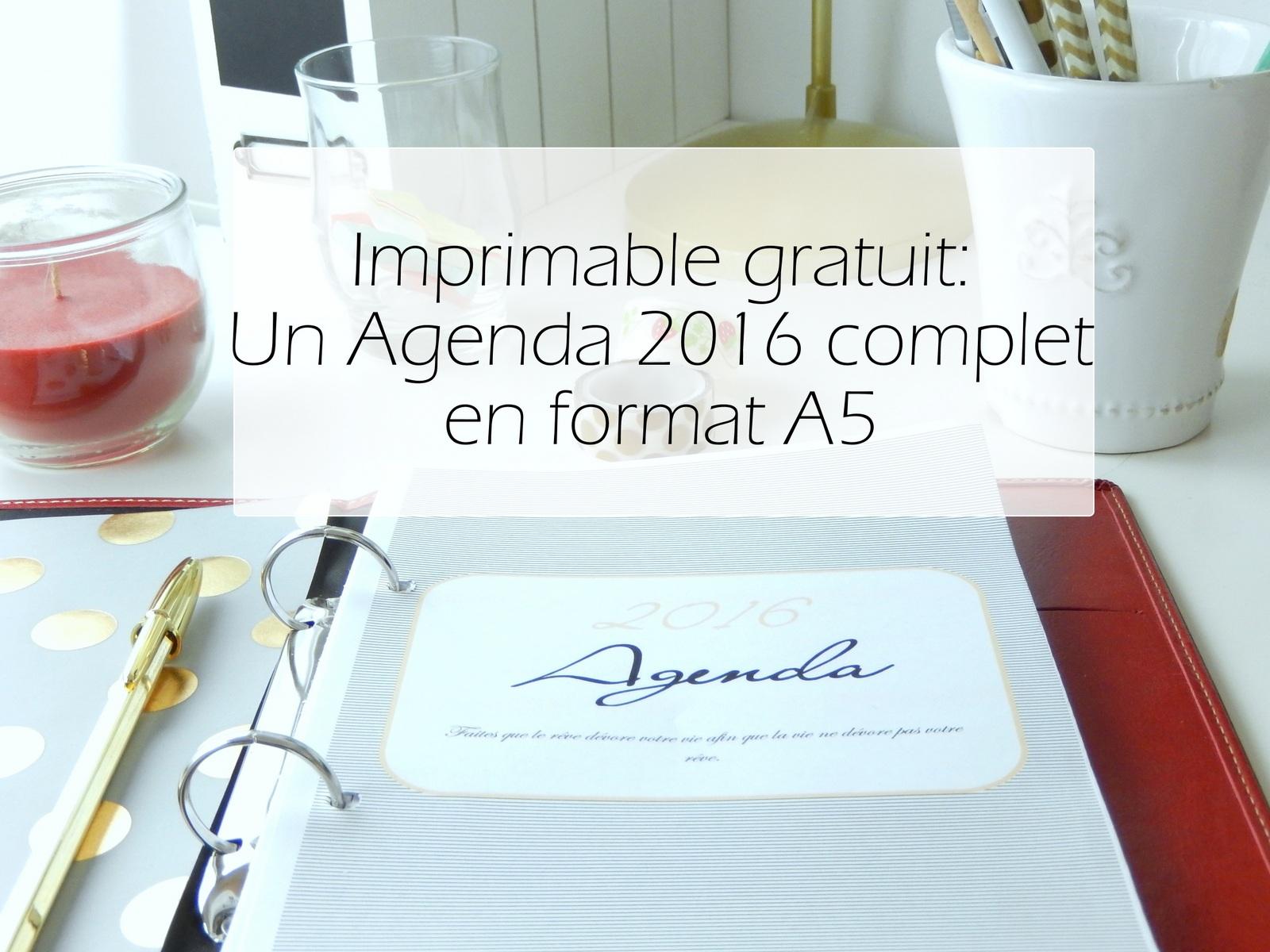 Exceptionnel Free printable: un agenda complet 2016 à imprimer en format A5  PV65