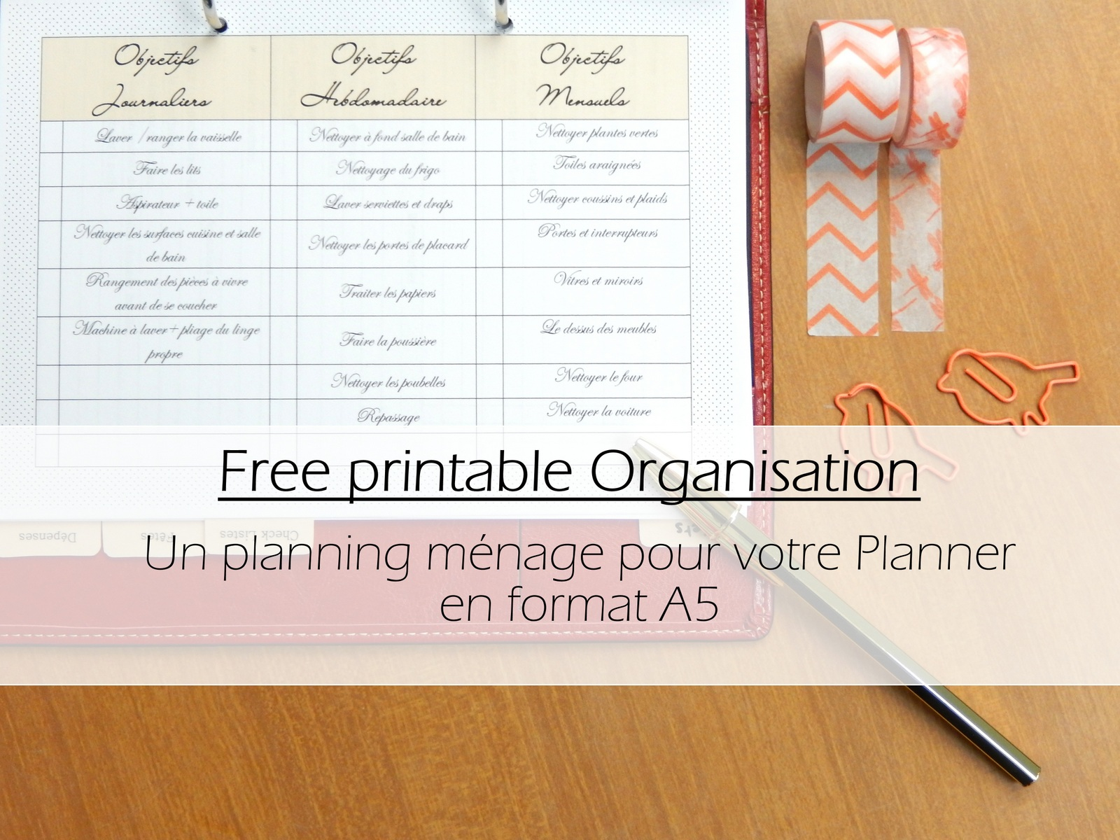 Free printable un planning organisation pour le m nage - Organisation menage quotidien ...