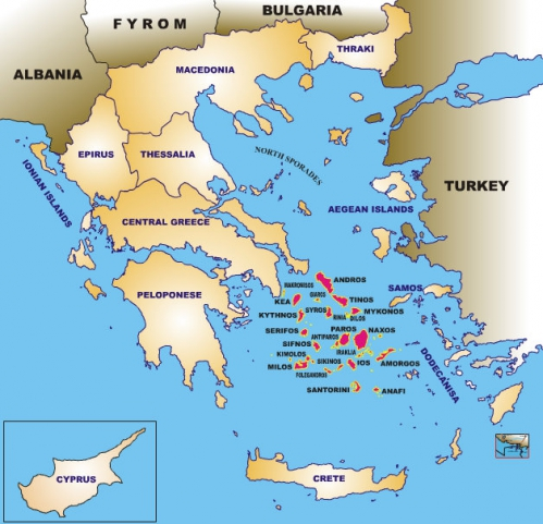 Carte Crete Cyclades.3 12 A Study Of Tourism In Greece Athens Tours