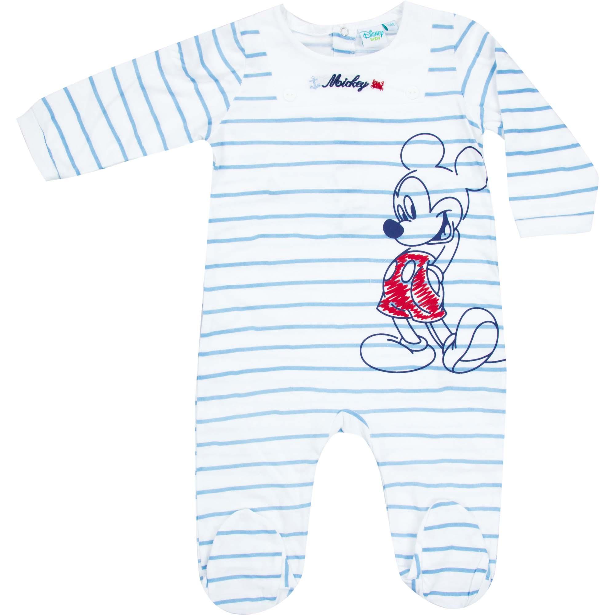Créateur: Disney Baby Composition: 100% coton Couleur : Bleu Tailles disponibles : 0 mois (50) / 1 mois (56)  Il reste un seul exemplaire par taille ! Prix: 10€