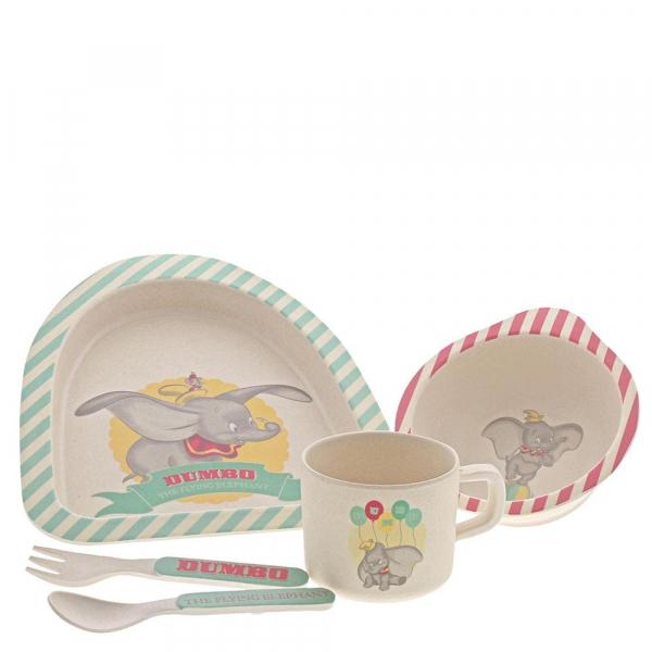 Set de 4 pièces : une assiette plate, une assiette creuse, une paire de couverts et une tasse Créé en matériaux organiques (bambou) Collection: Enchanting Référence: A29573 Prix: 28€