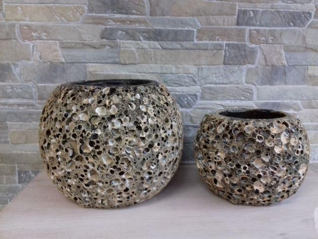 Pot effet corail hauteur 17.5 et 12 cm. 35 € et 23 €