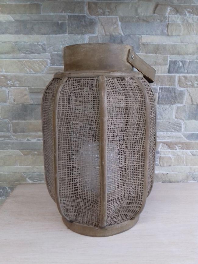 Lanterne toile de jute, hauteur 30 cm. 19 €