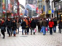 foule dans la ville