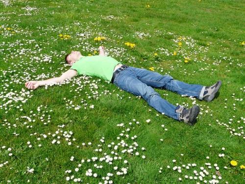 homme allongé sur l'herbe