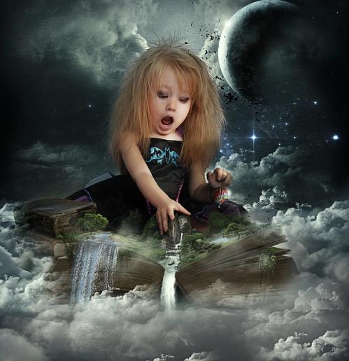 contes de fées-petite fille étonnée