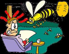 homme se faisant attaquer par abeille