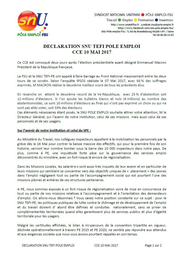 Declaration Snu Tefi Pole Emploi Cce 10 Mai 2017 Nord Pas De