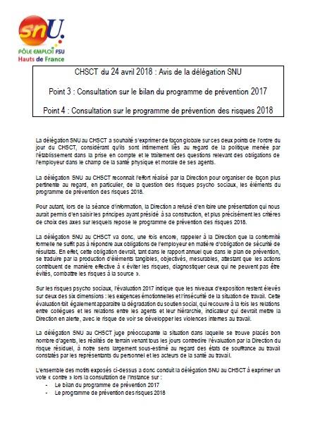 Avis Du Chsct Sur Les Prevention Des Risques 2018 Nord Pas De