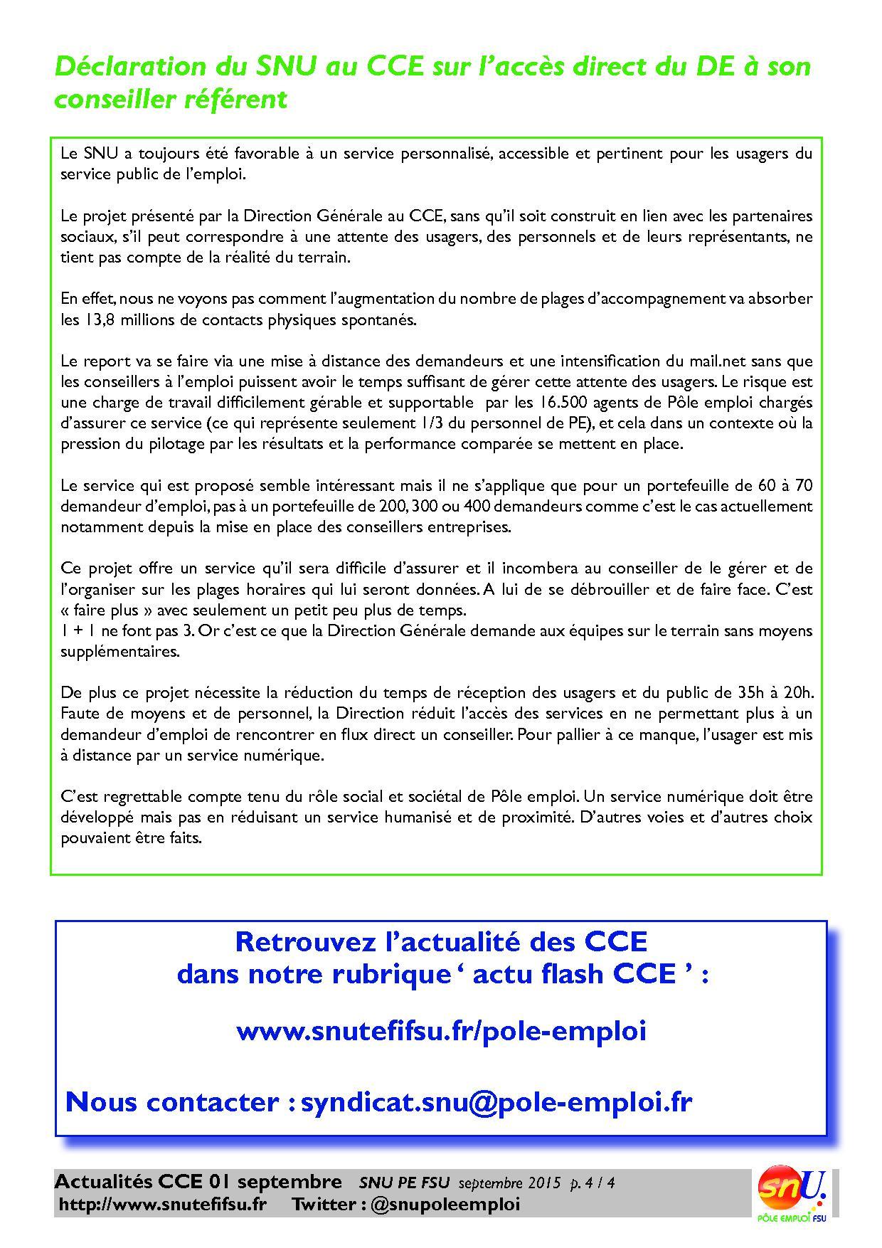 Flash Cce Du 1er Septembre 2015 Feuille De Route 2016 Et Acces