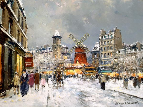 Snowy day Paris by Antoine #Blanchard (1910-1988).PNG