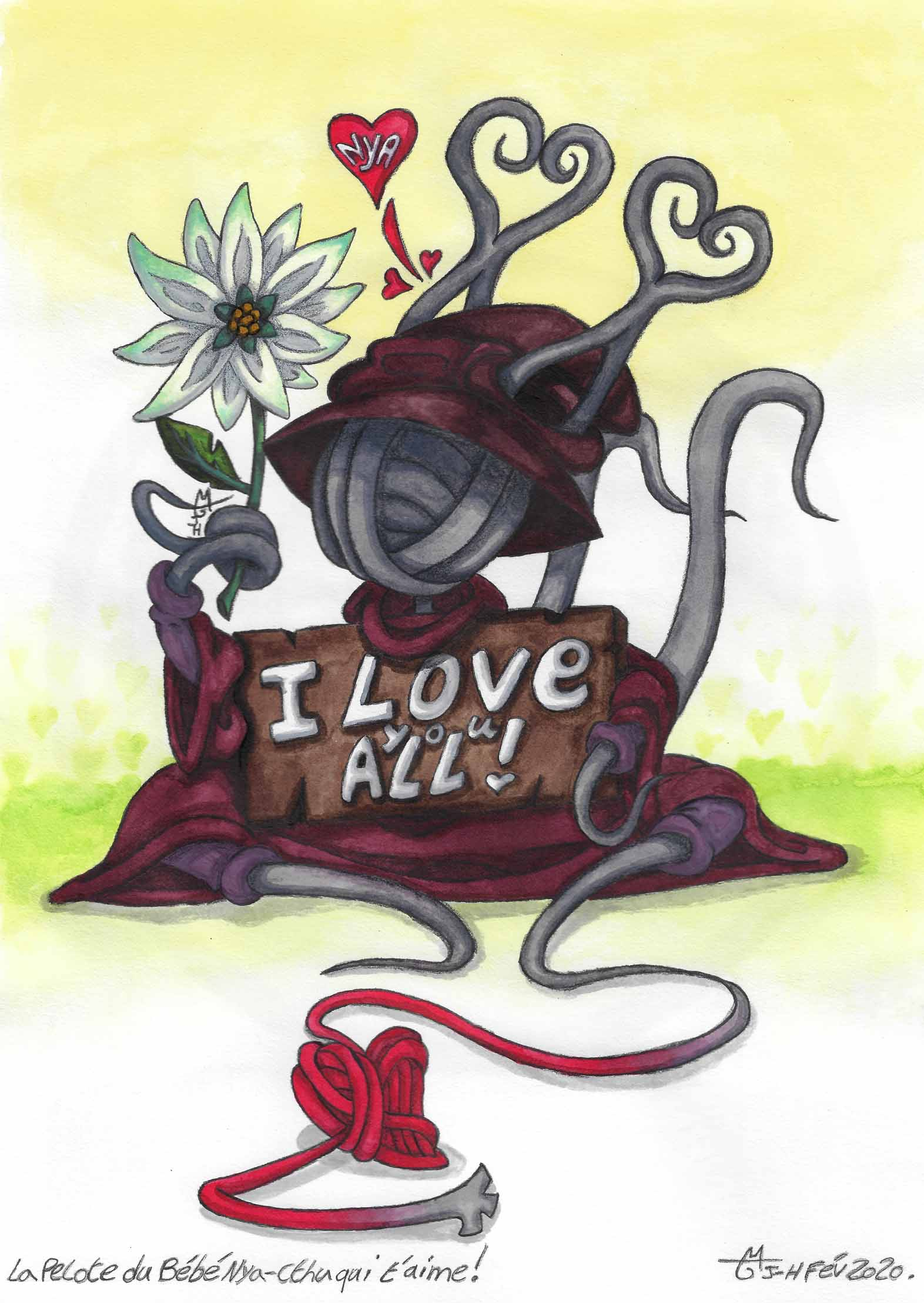 La pelote de laine du Bébé Nya-Cthu qui t'aime ! - Les Terres de Fiönn - St Valentin