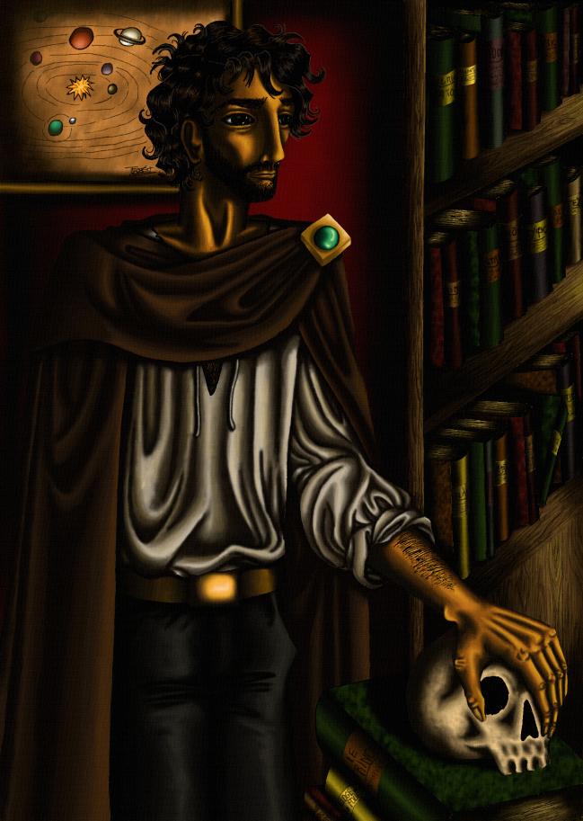 Homme au crâne, façon baroque
