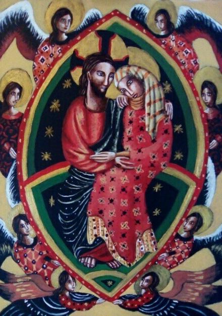 Marie dans les bras de Jésus