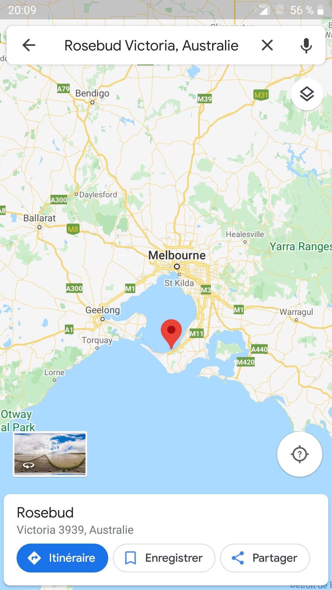 Rosebud est à l'extrémité sud de la baie de Melbourne