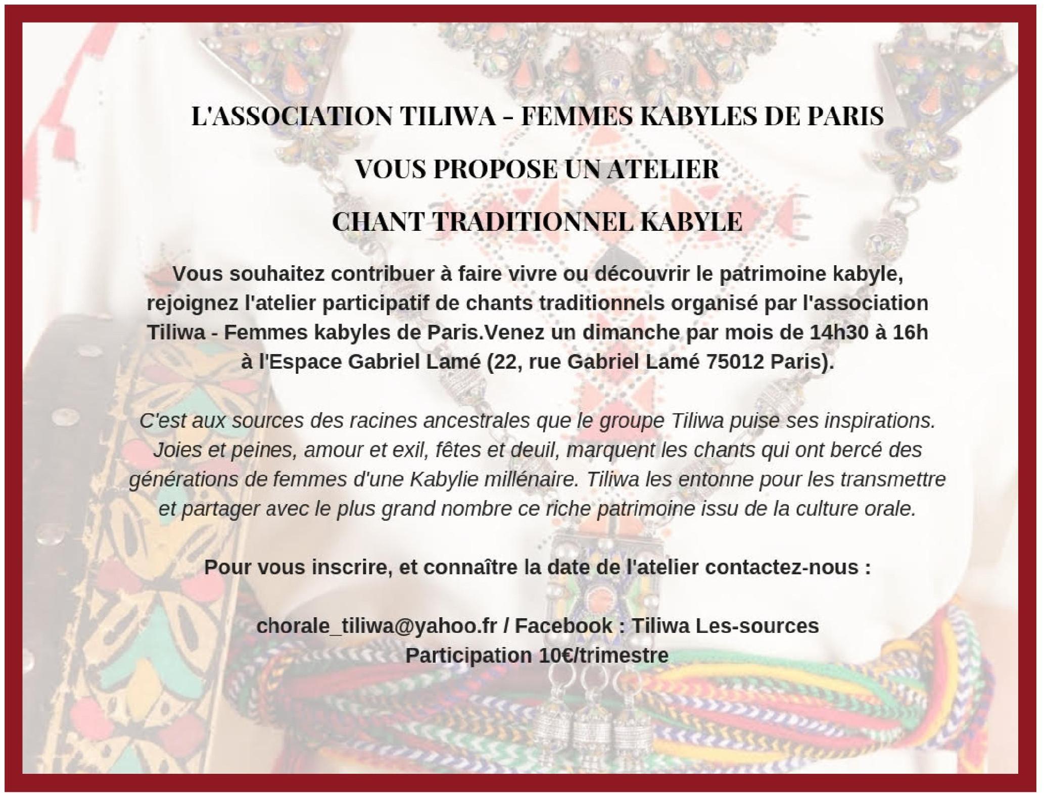 Atelier chant kabyle par tiliwa
