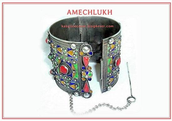 bracelet kabyle  argent émaux corail