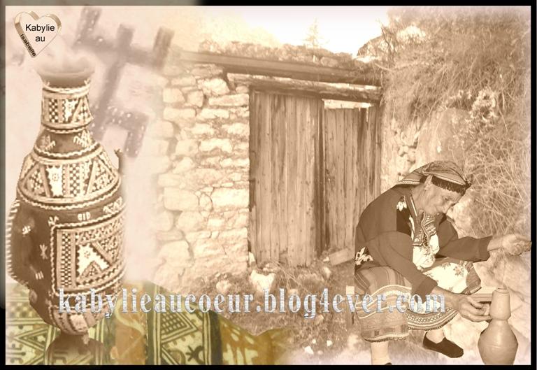Femme kabyle réalisant une poterie