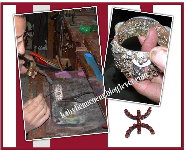 bijoutier kabyle réalisant un bracelet en argent